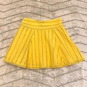 🌻 NWT Forever 21 Yellow Eyelet Mini Skater Skirt